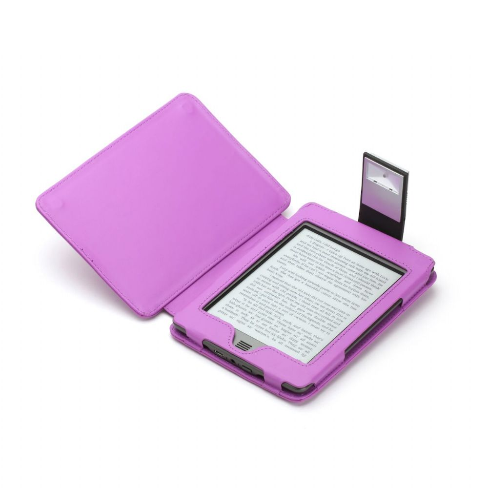 Purple GENUINE Leather Case for Kindle Touch with Slim LED Light